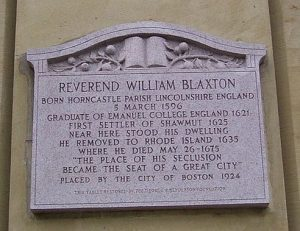 william blaxstone, plaque, boston