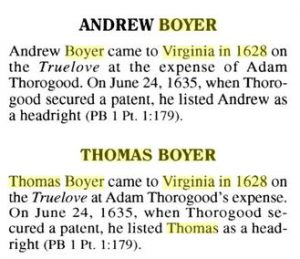 Boyers of Colonial Virginia