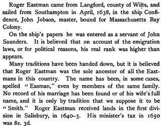 roger eastman, colonial settler