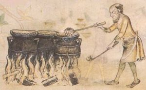 medieval cook with cauldrons
