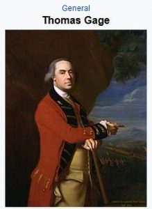 general thomas gage, revolutionary war