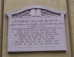 william blaxstone, plaque, boston