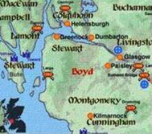 clan boyd, map, scotland