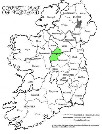 longford, ireland, map