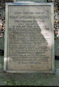 colonel richard blackburn, grave, memorial