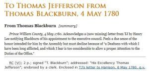 thomas blackburn, letter, thomas jefferson
