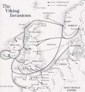 viking invasion map, europe, norse